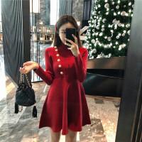 秋冬季韩版复古红色高腰短裙半高领气质针织打底裙长袖连衣裙女 红色 均码