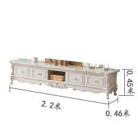 欧式茶几电视柜组合客厅家具套装小户型实木雕花大理石面白色地柜 整装