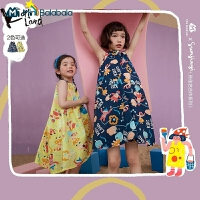 [孙佳艺合作款]迷你巴拉巴拉女童连衣裙2021年夏季印花纯棉裙子