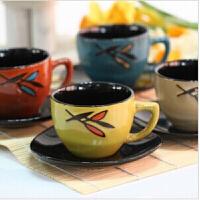 日�n�凸派�釉陶瓷茶具12套件杯子杯�|四色混�l�^�V泡茶杯