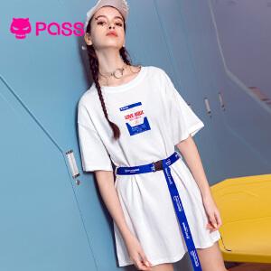 PASS女装2018新款夏装潮白色连衣裙女中长款织带收腰宽松t恤长款
