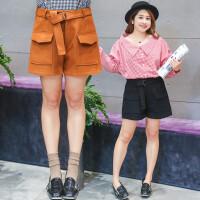 加肥加大码短裤女秋冬季新款 200斤胖MM显瘦宽松高腰阔腿靴裤热裤