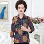 2017春夏新款中老年七分袖衬衫时尚妈妈装金丝上衣韩版女装大码bjF208-1782