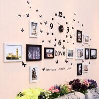 客厅照片墙时钟装饰黑白相框墙创意挂墙组合相片墙13框p