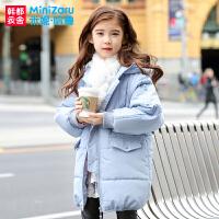 荟米妮哈鲁童装2017冬装新款女童韩版儿童中长款棉袄中大童棉服