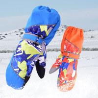 冬季户外保暖透气并指全指手套儿童滑雪手套