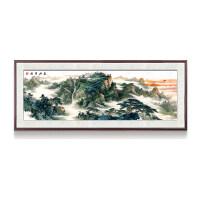 中式装饰画客厅装饰画 泰山日出图有山无水靠山画新中式客厅装饰画风水挂画J 83.9x213.9厘米 典雅红木色框(3厘