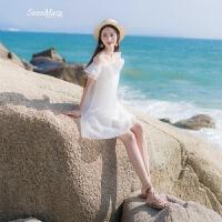 2018夏季新款女装一字领露肩度假沙滩裙欧根纱吊带连衣裙短裙裙子 白色