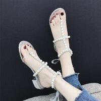 度假风休闲女鞋潮 韩版百搭粗跟罗马鞋 沙滩凉鞋女 新款女士珍珠凉鞋