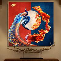 孔雀鱼图十字绣小件蒙娜丽莎新款客厅花开富贵新中式线绣小幅 中格3绣60X60厘米 进口丝线