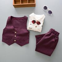 百槿 2018春季男童春款领结小西服三件套 1-5岁身高70-122儿童韩版西服套装