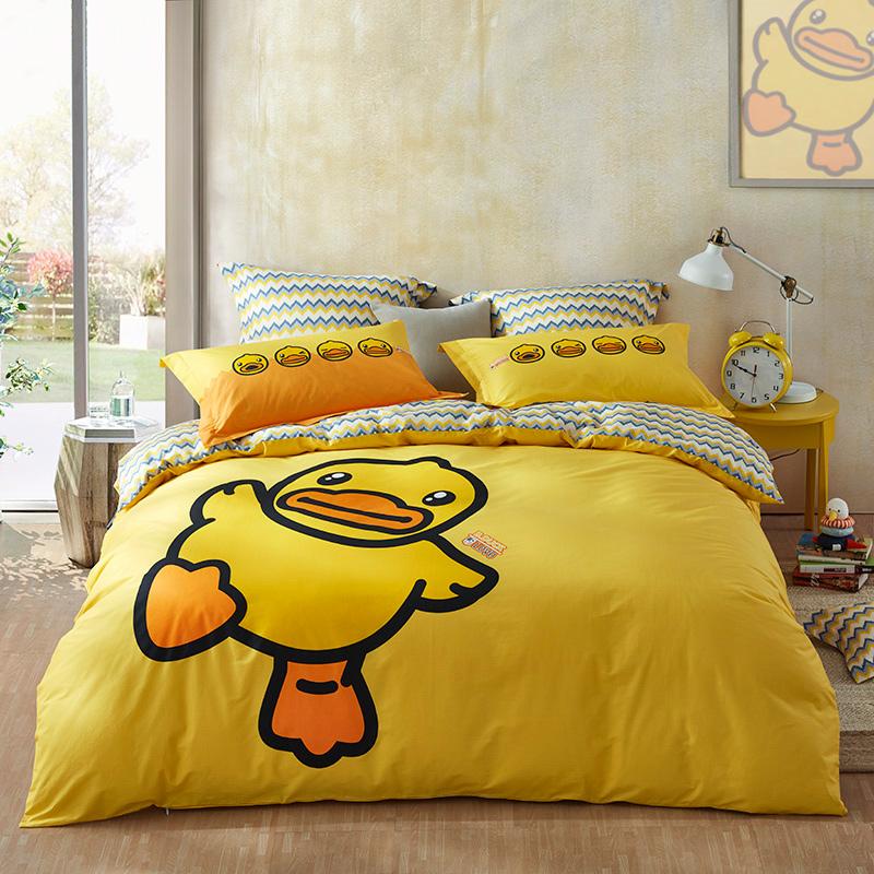 LOVO家纺 40支精梳全棉四件套  卡通床单被套 小黄鸭系列