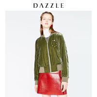 DAZZLE地素 18秋专柜新款 柔和光泽丝绒刺绣立领外套 2F3F4031Q