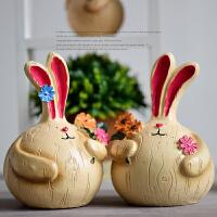 创意家居客厅卧室兔子摆件酒柜电视柜新房礼品摆设结婚礼物装饰品