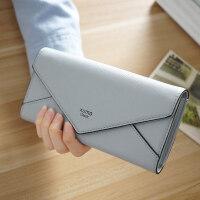 韩版新款钱包女长款 时尚简约十字纹搭扣三折信封女士钱夹