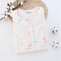 春秋季纱布纯棉月子服薄款产后秋天哺乳喂奶孕妇睡衣家居服套装