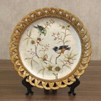 欧式复古大象摆件美式装饰工艺品创意树脂象看盘客厅玄关饰品