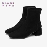 莱尔斯丹 时尚简约方头粗跟纯色拼接袜靴短靴女靴LS AT52801