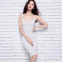 2018春季新款女士中长款纯羊绒衫修身显瘦吊带针织连衣裙