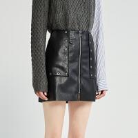 DAZZLE地素 2019冬装新款帅气摩登环保皮草半身裙女2G4S2011A