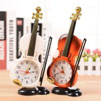 仿真小提琴闹钟 创意乐器造型桌面时钟客厅塑料摆件学生台钟座钟