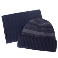 针织中老年人帽子男士冬季毛线老人帽子男冬天加厚棉帽老头帽围巾