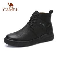 camel骆驼2018秋季新品牛皮靴子女平底圆头舒适软底复古平底短筒靴子