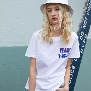 PASS2018新款夏装简约字母印花ins同款短袖女白色t恤纯棉宽松学生