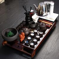 尚帝 养神实木-(乌紫砂)茶具茶盘白单炉套装XMBH2014-036A1