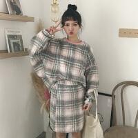 韩版时尚休闲套装秋冬呢子卫衣外套+格子半身裙短裙两件套学生女