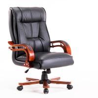 老板椅真皮可躺实木家用休闲按摩头层牛皮升降转椅电脑大班椅 棕色进口牛皮+按摩 915款+定位可躺 实木脚
