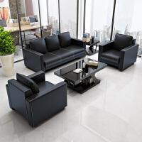 现代简约商务 办公家具沙发组合 会客接待洽谈三人皮商用沙发