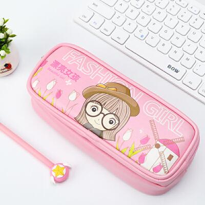 绍泽文化-时尚女孩大容量笔袋-粉色