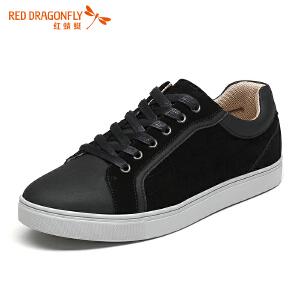 红蜻蜓真皮男单鞋 春秋新款正品运动休闲板鞋拼接系带男鞋皮鞋