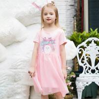 【2件5.5折价:87】小猪班纳童装女童t恤吊带裙套装夏季网纱裙