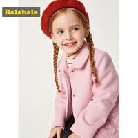 【3件3折价:170.97】巴拉巴拉童装女童呢子外套秋冬2019新款儿童大衣加厚宝宝羊毛尼子