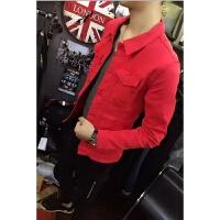 2018新款社会小伙外套快手同款春季男士牛仔外套男韩版修身精神潮流夹克上衣服 红色 纯色外套