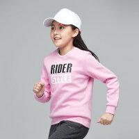 【3件3折到手价:53.7元】鸿星尔克(ERKE)童装女童圆领上衣儿童卫衣套头新款运动休闲秋长袖