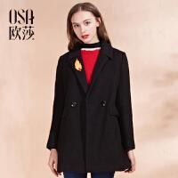 OSA欧莎2016冬季新款女装翻领贴布绣花胸针可拆卸毛呢大衣