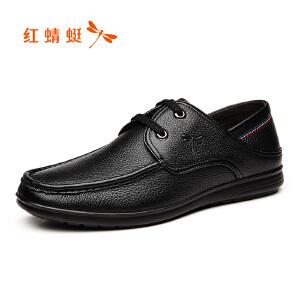 红蜻蜓男鞋精致车缝线舒适系带真皮皮鞋