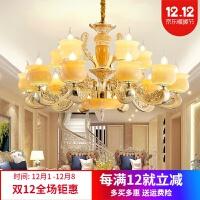 欧式天然玉石客厅吊灯别墅复式楼蜡烛水晶三层楼中楼大厅大吊灯