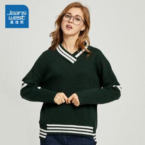 [秋装迎新限时购:60.8元,仅限8.21-26]真维斯女装  春秋装  时尚简单撞色V领毛衣