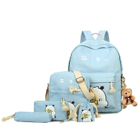 帆布双肩包小学生书包女韩版大容量背包二三四五级六件套