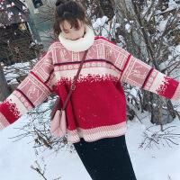 港味小清新淑女软妹甜美可爱少女毛衣配裙子两件套装女秋冬季2018 红色毛衣+半身裙套装