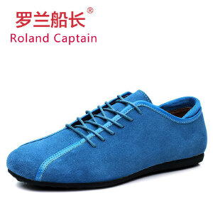 罗兰船长 豆豆鞋男鞋子休闲鞋英伦男鞋反绒牛皮 D