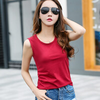 女士纯棉吊带背心韩版夏装新款圆领无袖打底衫外穿内搭T恤上衣