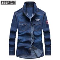 2018秋装新款吉普JEEP牛仔长袖衬衫宽松大码潮男衬衫RSC016男衬衣
