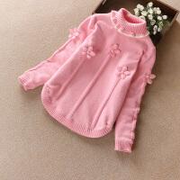 女童毛衣套头秋双层加厚童装宝宝小女孩毛线衣打底衫儿童针织衫 高领花朵加绒粉 现货发
