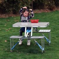 空大户外连体折叠桌椅铝合金加厚便携野营车载餐手提广告宣传烧烤