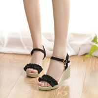 绒面增高坡跟一字扣防水台外穿凉鞋简约一字型高跟凉鞋女